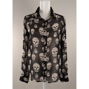 NEW sheer black blouse with skull print size S
